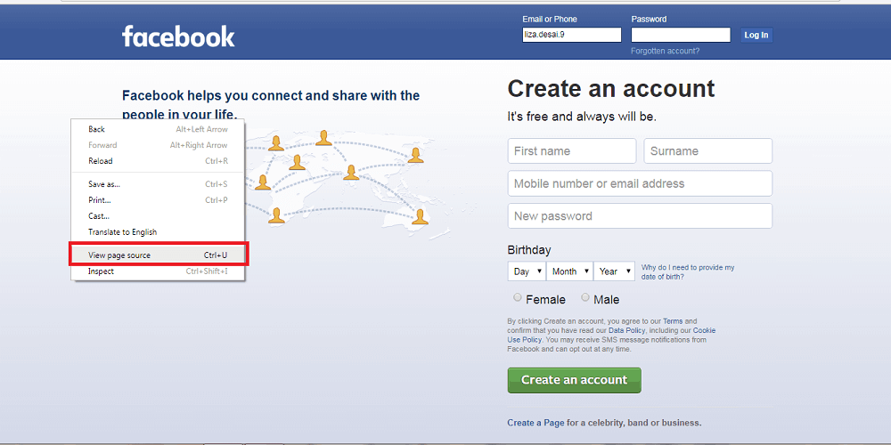 create a phishing page