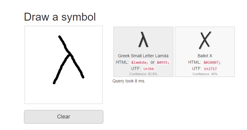 identify symbol by drawing it