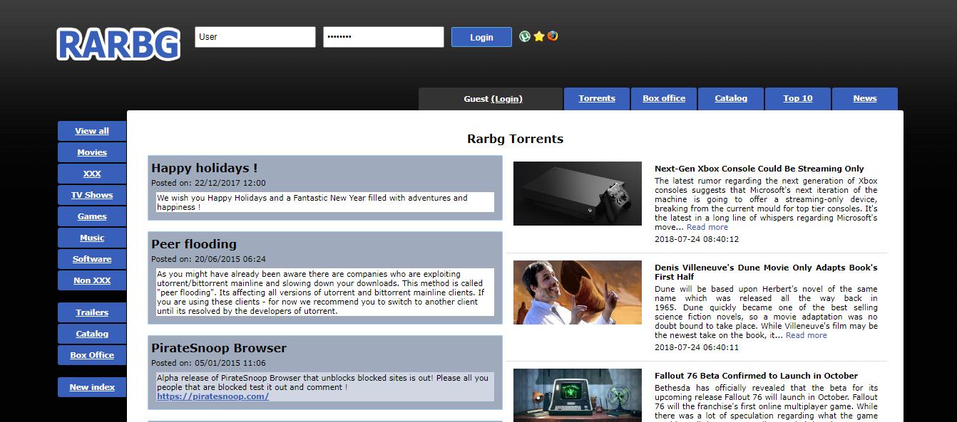 RARBG online torrent website